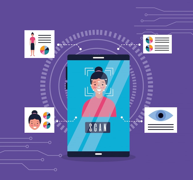 Smartphone mulher rosto digitalização reconhecimento biométrico