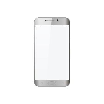 Smartphone na cor cinza estilo telefone com tela de toque em branco isolada na ilustração vetorial branco