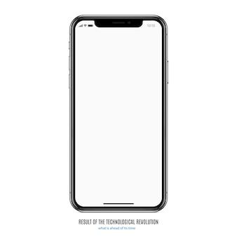 Smartphone na cor preta com tela em branco sobre fundo branco. eps10 de ilustração vetorial de estoque