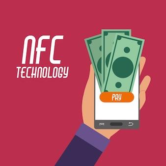 Smartphone na mão com contas nfc para pagamento