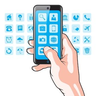 Smartphone na mão com ícones de aplicativos