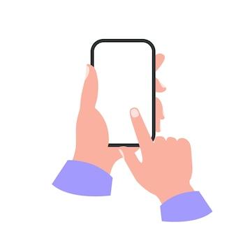 Smartphone na mão conceito de tela branca