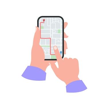 Smartphone na mão conceito. mapa gps com pinos