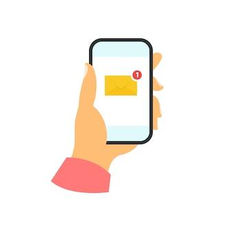Smartphone na mão conceito. nova mensagem Vetor Premium