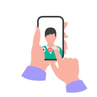 Smartphone na mão conceito. video chamada