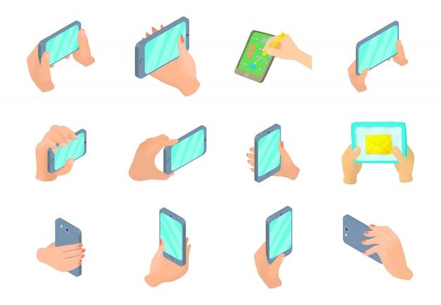 Smartphone na mão conjunto de ícones