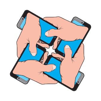 Smartphone na mão de outro smartphone