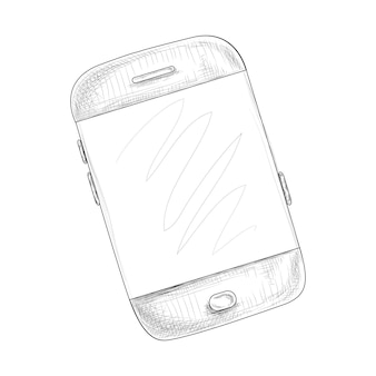 Smartphone na mão desenhada ilustração vetorial de estilo