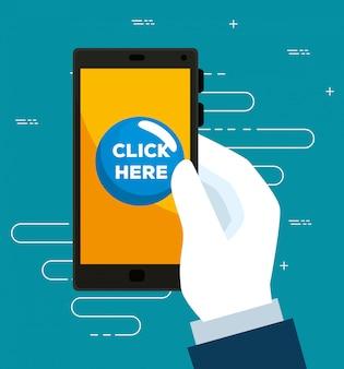 Smartphone na mão e toque no cursor do mouse