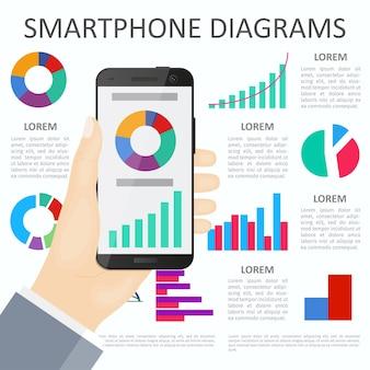 Smartphone na mão em plano de fundo com gráficos e diagramas. design plano. infográfico.