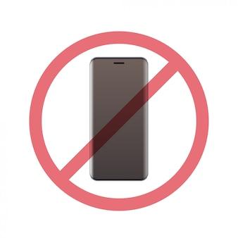 Smartphone no conceito de desintoxicação digital de sinal de proibição não use celular