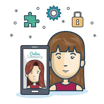 Smartphone on-line de comunidade de mulher com design de mídia app