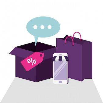 Smartphone para compras on-line com saco e caixa