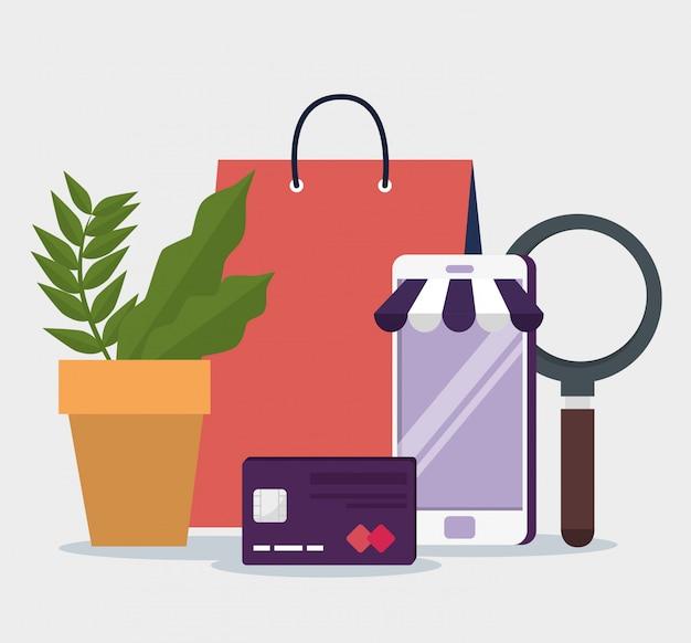 Smartphone para compras on-line e cartão de crédito