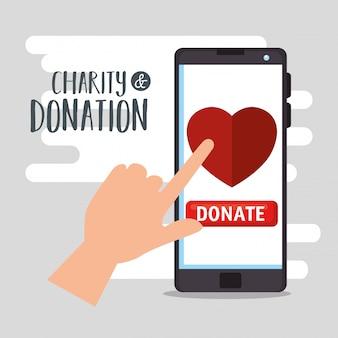 Smartphone para doação de caridade online