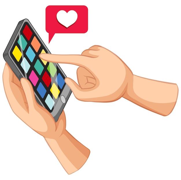 Smartphone pesquisado com as mãos e estilo cartoon de etiqueta de amor isolado no fundo branco