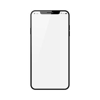 Smartphone preto com a tela de toque em branco isolada no fundo branco.