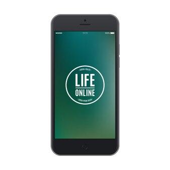 Smartphone preto fosco com maquete isolada de protetor de tela colorido de telefone celular realista