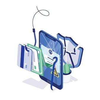 Smartphone сracked, cartões de crédito e dinheiro no anzol e escudo protetor quebrado ou estilhaçado