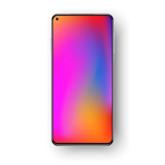 Smartphone realista colorido isolado no fundo branco.