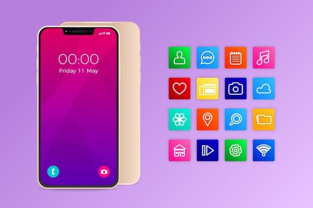 Smartphone realista com aplicativos em tons de violeta gradiente