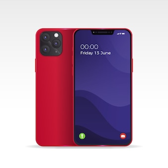 Smartphone realista com caixa traseira vermelha e telefone aberto