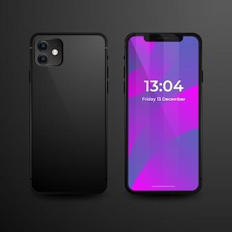 Smartphone realista com capa preta