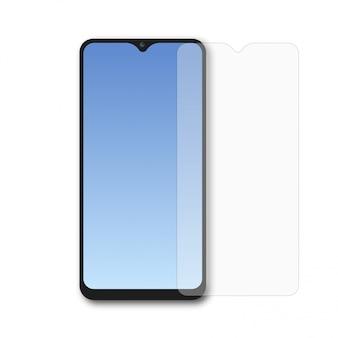 Smartphone realista com protetor de tela.
