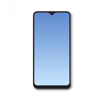 Smartphone realista com tela de gradiente azul. vetor.