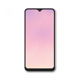 Smartphone realista com tela gradiente rosa. vetor.