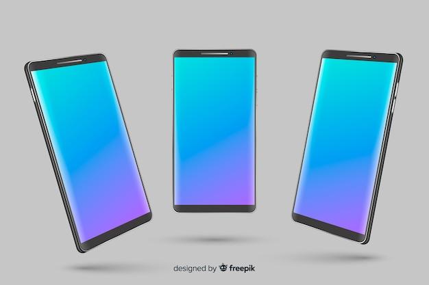 Smartphone realista em diferentes pontos de vista