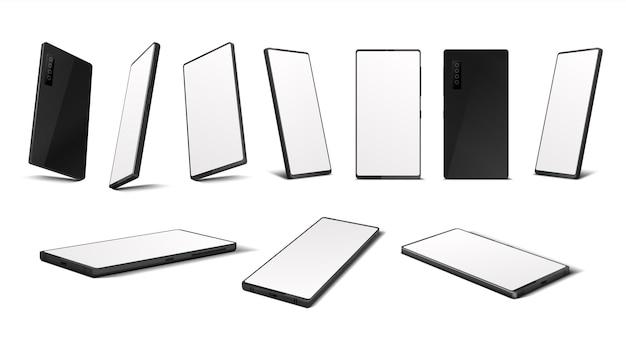 Smartphone realista. maquete de telefone móvel com tela em branco em diferentes perspectivas isométricas. ilustração vetorial isolado em um celular 3d de lados diferentes, isolado no fundo branco