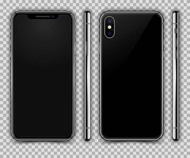 Smartphone realista semelhante ao iphone x. vista frontal, traseira e lateral