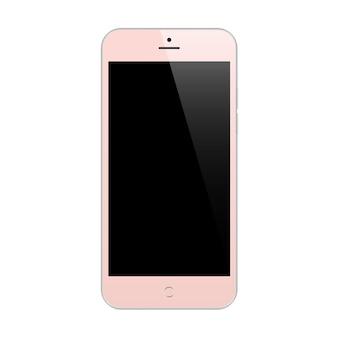 Smartphone rosa com protetor de tela de toque preto isolado no branco