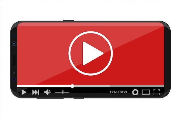 Smartphone sem moldura com o reprodutor de vídeo na tela.