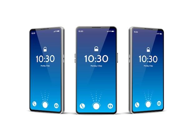 Smartphone sem moldura realista. tela de toque do dispositivo móvel com várias posições menu principal azul