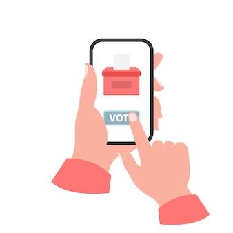 Smartphone seu conceito de mão. voto