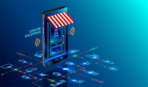 Smartphone transformado em loja na internet