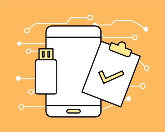 Smartphone usb e área de transferência