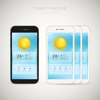 Smartphones com aplicação do tempo