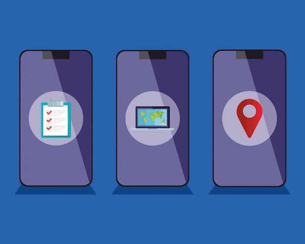 Smartphones com entrega ícones vetor design