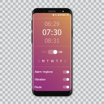 Smartphones com interface de alarme de maquete.