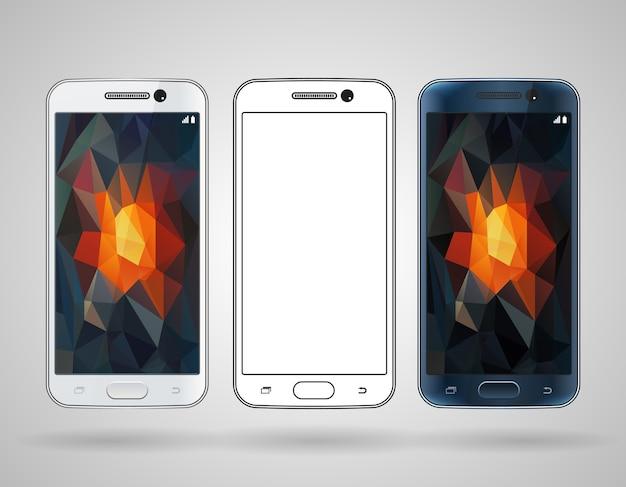 Smartphones com maquete de vetor de bordas inclinadas e modelos em preto e branco
