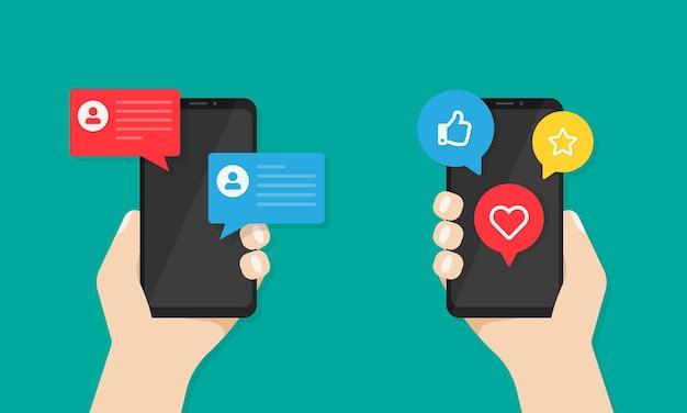 Smartphones com notificações de mídia social na tela nas mãos. mensagens, como símbolos de polegar para cima no visor dos dispositivos. ilustração vetorial eps 10