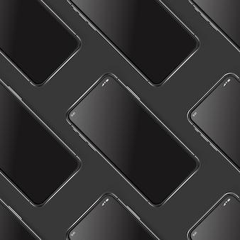 Smartphones modernos em camadas maquete diagonal fundo sem emenda