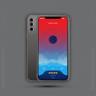 Smartphones realistas com aplicação de música móvel, frente com tela e verso com câmeras.