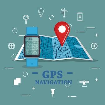 Smartwatch com aplicativo de navegação por gps