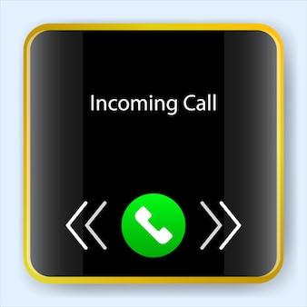 Smartwatch com tela de chamada recebida. kit de aplicativo móvel de interface de usuário. desenho de ilustração vetorial. aplicativo de software ui