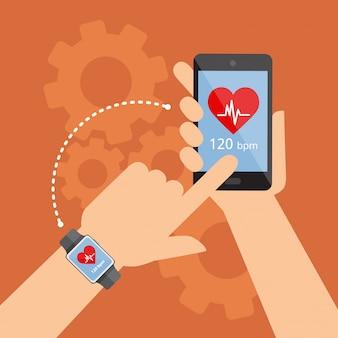 Smartwatch e smartphone sincronizados. monitoramento do esporte