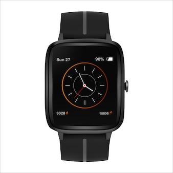 Smartwatch moderno com app de rastreador de fitness na tela para monitorar calorias queimadas em um fundo isoiado. ilustração vetorial